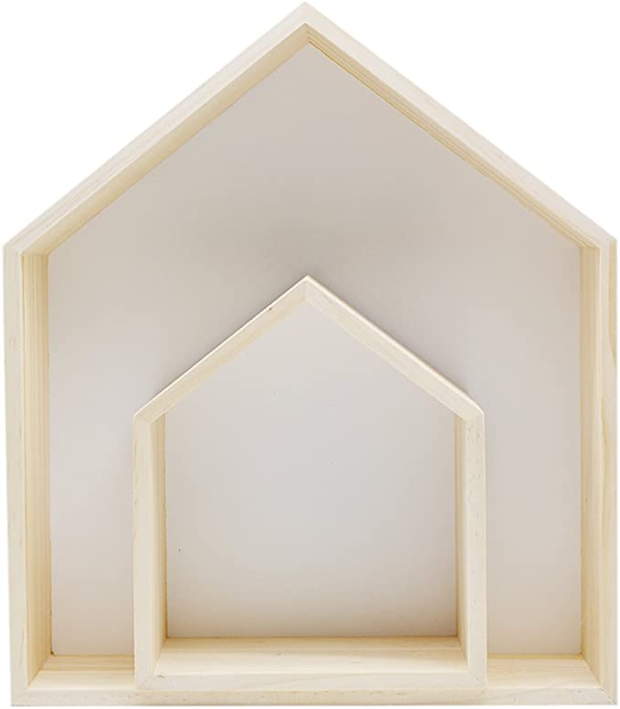 Details about  /Wooden Wall Hanging Shelf Storage Holder House Shaped Home Decor Rack Organizer