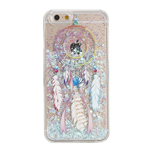 Urberry Iphone 6 Case, Dream-catcher Running Glitter Cover, Creative Design Flowing Liquid Floating Luxury Bling Glitter Sparkle Hard Case for iPhone 6/6s with a Screen Protector (White)
