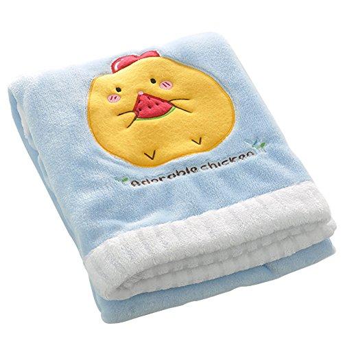 (NinkyNonk Baby Flannel Blanket Soft Fleece Stroller Blanket Kids Travel Blanket for Toddlers Blue )