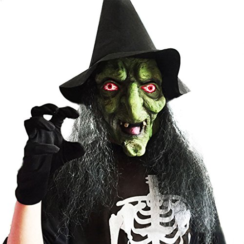 [Long Hair Halloween Scary Witch Face Mask with Hat for Party] (Scary Halloween Witches)