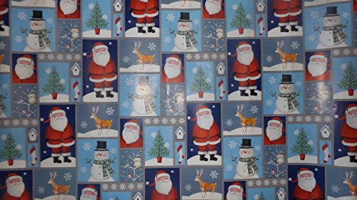 Trim A Home Festive Christmas Wrapping Paper 12 YD x 2.5 FT. 90 SQ FT. 1 Roll Christmas Santa, Stocking, Snowman & Owls Wrapping Paper