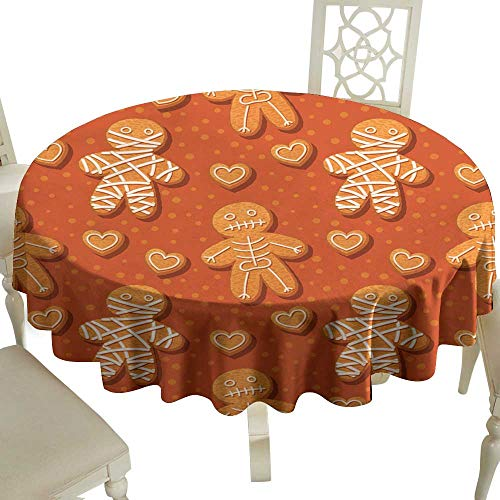WinfreyDecor Polyester Tablecloth Halloween Gingerbread Pattern Indoor Outdoor Camping Picnic D55 -