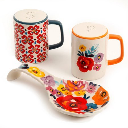The Pioneer Woman Flea Market Stoneware Floral Spoon Rest & Salt And Pepper Set (Pack of 3) by The Pioneer Woman