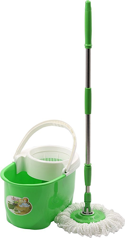 Cleankly 360 Spin Wet Mop and Bucket Hardwood Floor Cleaning System Easy Wring with 2 Washable Microfiber Mop Heads Replacements