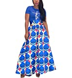 Halfword Womens African Print Mix Skirt - Floor Length Big Hem High Waist Casual Long Dress Blue