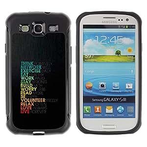 Fuerte Suave TPU GEL Caso Carcasa de Protección Funda para Samsung Galaxy S3 I9300 / Business Style Life Love Work Positive Motivational Quote Think
