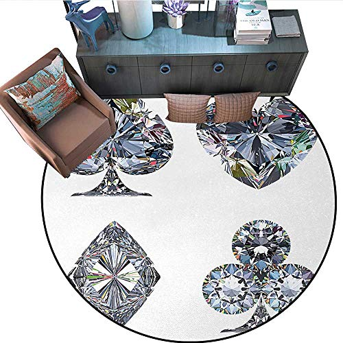 "Diamond Round Rug Kid Carpet Playing Cards Diamonds Hearts Clubs Spades Casino Theme Charm Art Graphic Design Circle Rugs for Living Room (79"" Diameter) White Silver"