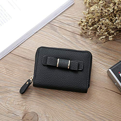 Womens Bowknot Wallets Handbags Leather Purses Clutch Chain Fashion Money Clip (Color - Black)