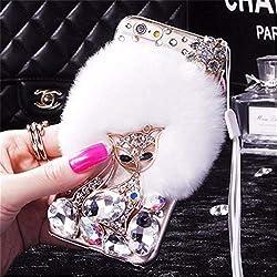White Fur Diamond Crystal Rhinestone Case for Oppo Mobile