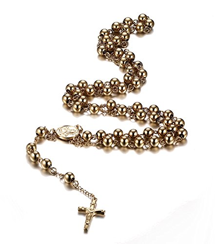 - VNOX Stainless Steel Rosary Beads Catholic Crucifix Long Chain Cross Necklace,Gold Plated