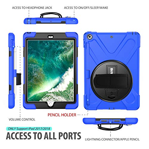 BRAECN New iPad 9.7 Case with Pencil Holder, Shockproof Dropproof Protective Rugged Case with Built-in Hand Strap, Kickstand and Detachable Shoulder Strap for iPad 9.7 Inch 6th Generation Tablet-Blue