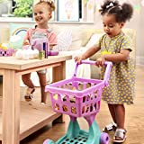 Play Circle by Battat – Pink Shopping Day Grocery Cart – Toy Shopping Cart with Pretend Play Food Items – Realistic Kitchen Accessories for Kids Ages 3 and Up