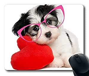 Cute Dog In Pink Glasses Fashion Masterpiece Limited Design Oblong Mouse Pad by Cases & Mousepads