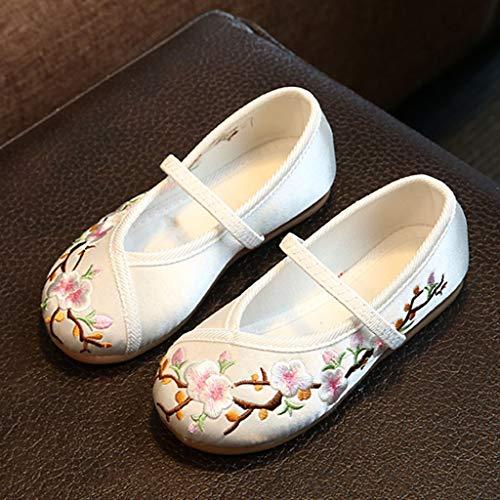 Casual Zapatos Fiesta Blanco 26 35 Talla De Bordado Nacional Flor Princesa Tela Niña Estilo xRfaRqwPAp