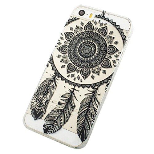 Culater® für iPhone 5C Retro Schwarz Klar Ethnisch Traumfänger Blumenmuster Hülle Case Cover