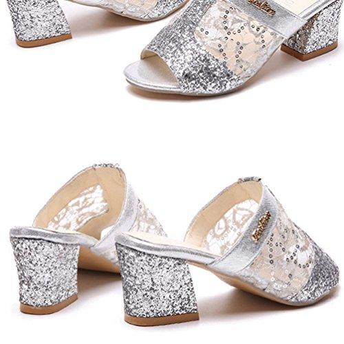 Toe Glisser Glisser Découpe Talon Pantoufle Sandales Plate sur Chaussure Femme Forme Mule Boucher Chunky Peep Argent Mule ROqX5n