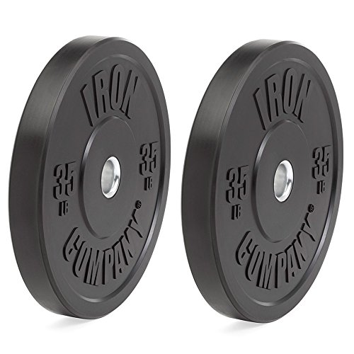 IRON COMPANY 35 lb. Premium Black Virgin Rubber Olympic Bumper Plates (PAIR) for Crossfit Workouts and Olympic Weightlifting - IWF Specifications by Ironcompany.com