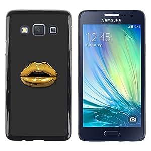 LECELL--Funda protectora / Cubierta / Piel For Samsung Galaxy A3 SM-A300 -- Metaphor Fashion Gold Kiss Grey --