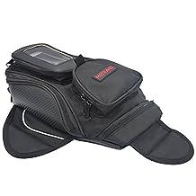 "Universal Motorcycle Tank Bag Waterproof Magnetic Waterproof Motorcycle Motorbike Bag for Honda Yamaha Suzuki Kawasaki Harley (Black, 13.7"" * 6.7"" * 3.9"", Small)"