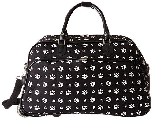 World Traveler 21 Inch Rolling Duffel Bag, Black White Pa...