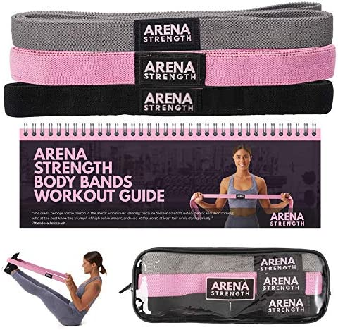 Arena Strength 3 Pack Fabric Resistance Body Bands, Long Resistance Bands, Stretch Resistance Band, Fabric Exercise Resistance Bands Set, Heavy Duty Stretch Bands, Mobility Bands for Workout Body