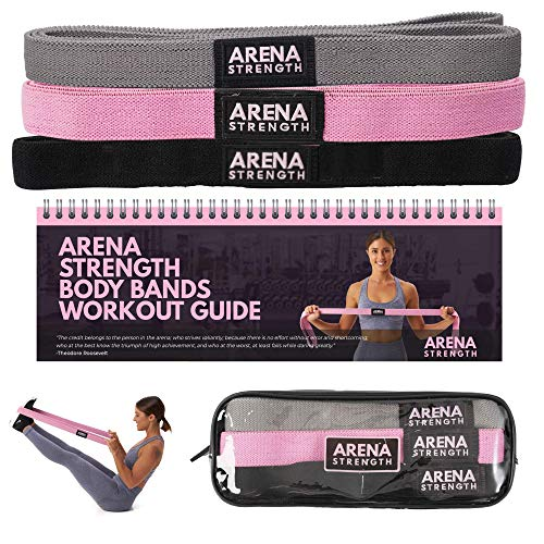 Arena Strength Long Fabric Resistance Bands Set with Workout Guide – Long Loop Resistance Band Set | Cloth Exercise…
