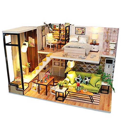 Spilay DIY Miniature Dollhouse Wooden Furniture Kit,Handmade Mini modern Apartment Model with LED Light ,1:24 Scale Crafts&Collectors&Creative Doll House Toys for Valentine Gift (Romantic Europe) M030 ()