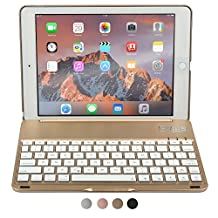 iPad Air 2, iPad Pro 9.7 keyboard case, COOPER NOTEKEE F8S Backlit LED Bluetooth Wireless Rechargeable Keyboard Macbook Clamshell Clamcase Cover 7 Backlight Colors - Gold / NOT FOR IPAD 9.7 2017