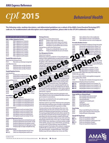CPT 2015 Express Reference Coding Card: Behavioral Health