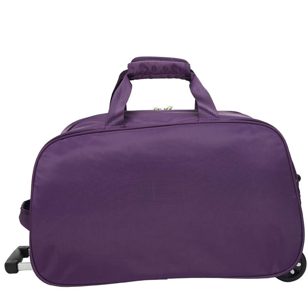 Minmin-lgx Luggage Rolling Duffel Bag Nylon Waterproof Lightweight Wheeled Carry-on Travel Bag 50L Color : Purple