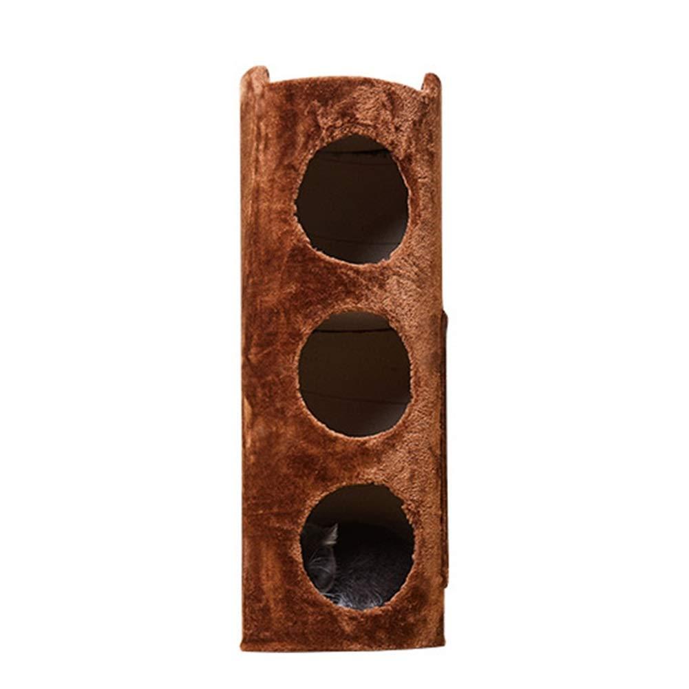 Brown 29x29x80cm Brown 29x29x80cm LXHONG-Cat tree Climbing Frame Three Floors Tree Hole Grab The Column Grab Board Pet Toy Season 4 (color   Brown, Size   29x29x80cm)