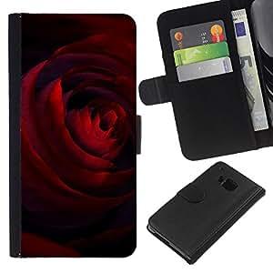 All Phone Most Case / Oferta Especial Cáscara Funda de cuero Monedero Cubierta de proteccion Caso / Wallet Case for HTC One M9 // Deep Crimson Dark Red Rose Love Valentines