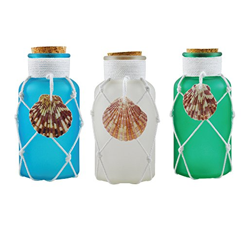 Decorative Glass Jar with Cork Stopper - Apothecary Jars - Food Storage Cannisters - Decorative Centerpieces - Home Decor Accents and Message in a Bottle Gift (Set of 3 Assorted Colors) -  Rockin Gear