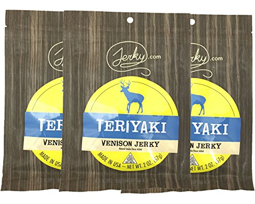 Jerky.com's Teriyaki Venison Jerky - 3 PACK - The Best Wild Game Deer Jerky on the Market - 100% Whole Muscle Venison - No Added Preservatives, No Added Nitrates and No Added MSG - 6 total oz.