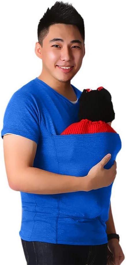 SHANGXIAN Kangaroo Mamma T-Shirt Pocket Top Gravidanza Allattamento al Seno Camicetta per la Cura del Bambino Baby Sleeping,Dad~B,XXXL