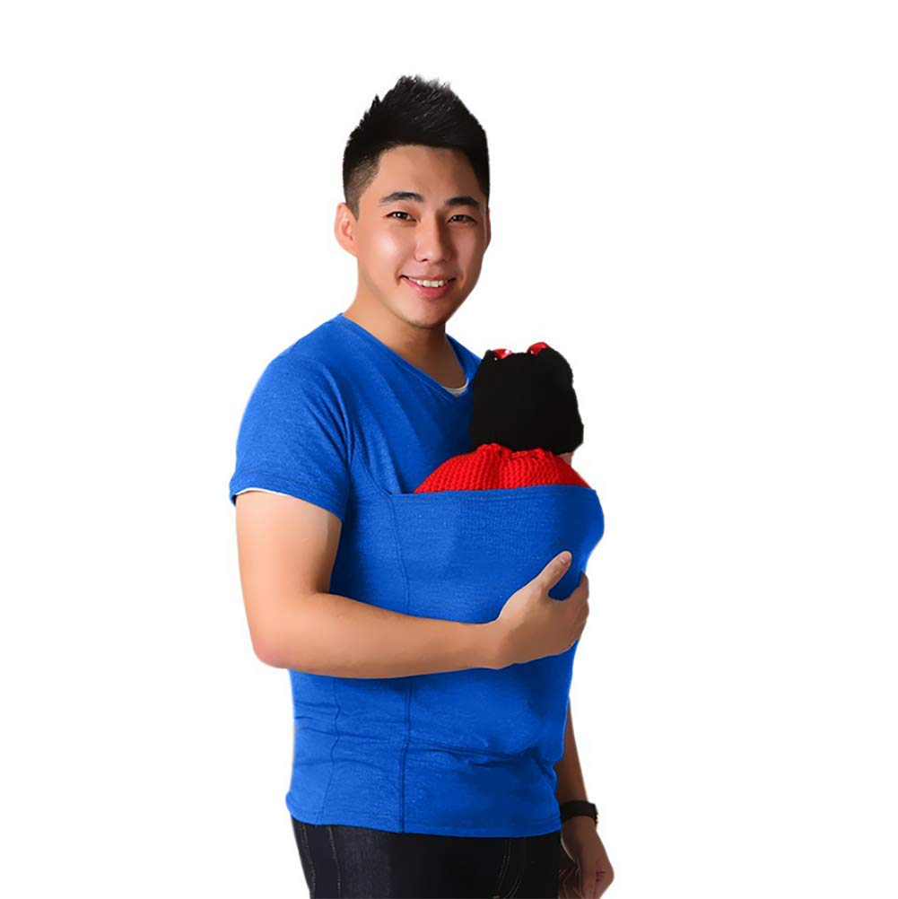 SHANGXIAN Kangaroo Dad T-Shirt Baby Care Pocket Tops Multifunction Blouse Clothes,Gray,L