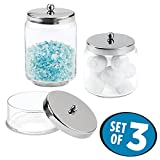 3 jar vanity set - mDesign Bathroom Vanity Glass Apothecary Jars for Cotton Balls, Swabs, Cosmetic Pads - Set of 3, Clear/Polished Stainless Steel