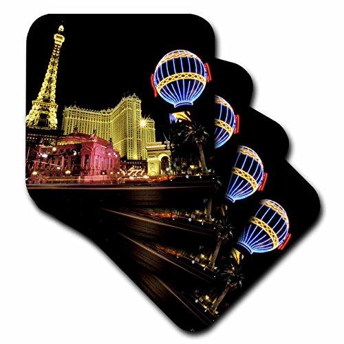 (3dRose CST_37789_3 Paris Hotel and Casino at Las Vegas Strip United States Ceramic Tile Coasters, Set of 4)