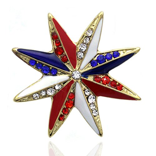 - cocojewelry 4th of July American Flag Design Eagle Star Pin Brooch Independence Day Gift (Star 1 Gold-tone)