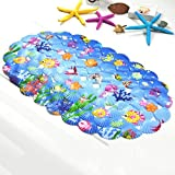 GVGs Shop 1 Piece Blue Cartoon Shell Animal Bath Mat Baby Non Slip Textured Round Rubber Suction Stick Cups Absorbent Splendid Popular Vintage Hotel Extra Long Large Washable Bathmats Shower Toilet