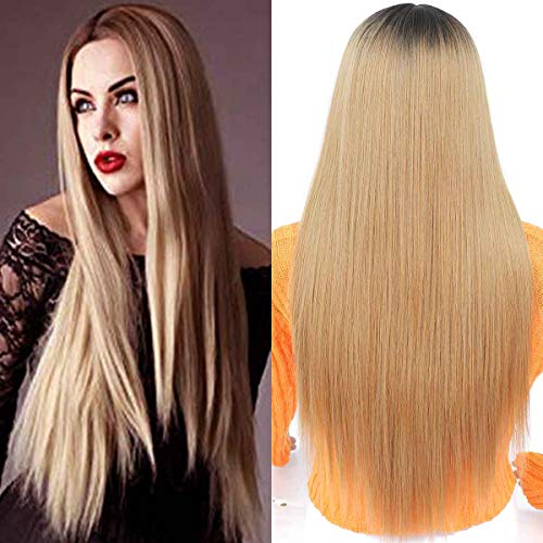 TIANTAI Long Straight Wig 2 Tone Dark Roots To Blonde Middle Parting Resistant Synthetic Wig for Daily Cosplay Party 26inch