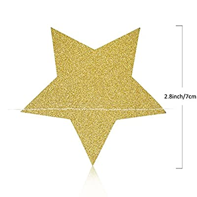 Koker Sparkling Star Garland, Paper Hanging String Banner Decoration for Wedding, Birthday Party Baby Shower Backdrop, Glitter Gold, 11.5 Feet/3.5 m: Toys & Games