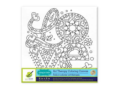 Living in Color Art Therapy Stretch Artist Canvas  Primed, 8in x 8in, Color your own beautiful design on Canvas, Love