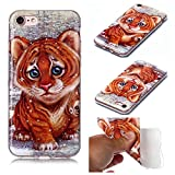 Miagon for iPhone 5S SE 5 Soft Case,Slim Shockproof Animal Pattern Flexible TPU Back Protective Cover Bumper,Tiger
