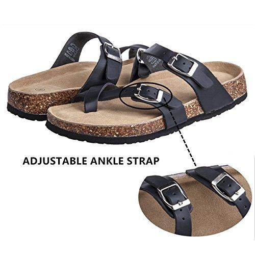 Festooning Womens Slides Flat Sandals Open Toe Double Buckle Strap Cork Sole Comfort Summer Shoes (10 B(M) US, Black) by Festooning (Image #1)