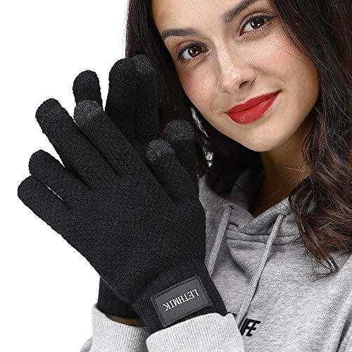 LETHMIK Mens&Womens Winter Touchscreen Gloves,Unisex Knit Gloves with 2 Texting Fingers for SmartPhones Black