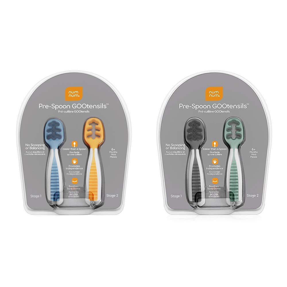 NumNum Pre-Spoon GOOtensils | Baby Spoon Set (First Stage + Second Stage) | BPA Free Silicone Self Feeding Baby + Toddler Utensil | Blue/Orange and Gray/Green