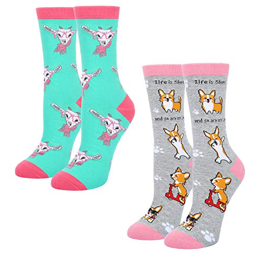 Women's Novelty Crazy Crew Socks Funny Cute Goat and Corgi Design 2 Pack with Gift Box ()