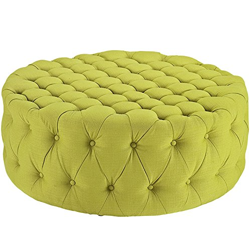 Modway Amour Fabric Upholstered Button-Tufted Round Ottoman in Wheatgrass ()