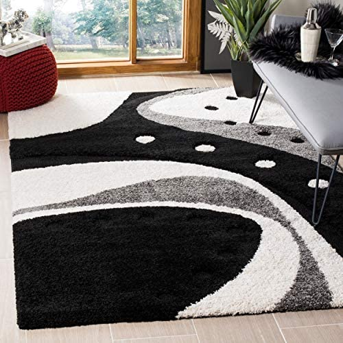 Safavieh Florida Shag Collection SG473 Mid-Century Modern Abstract 1.2-inch Thick Area Rug